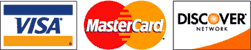 We take Visa, Master Card, Discover