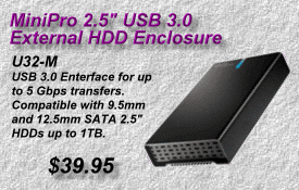 MiniPro USB 3 HDD Enclosure, U32-M